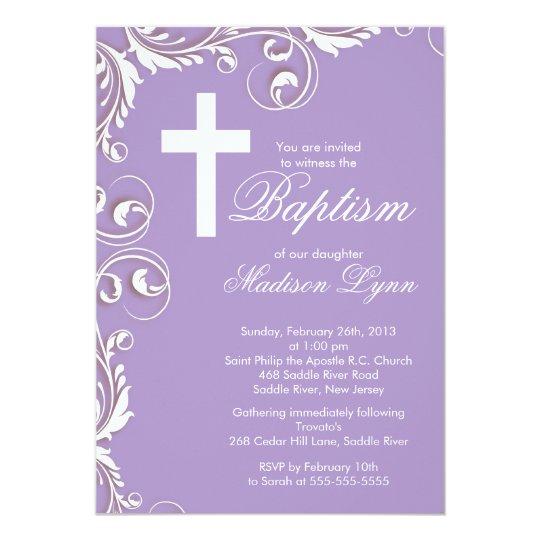 elegant cross baby girl baptism christening invitation zazzle com