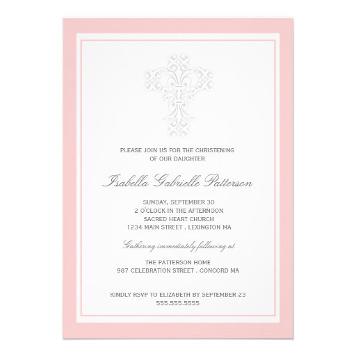 Elegant Cross Baby Girl Christening Invitation