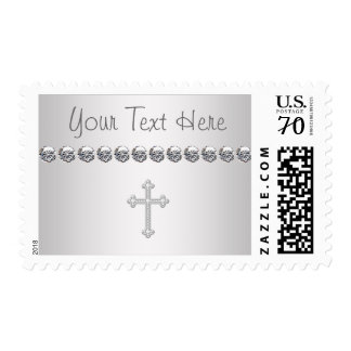 Elegant Cross Baby Girl Christening Postage Stamps