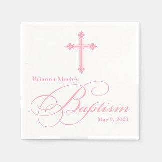 Elegant  Cross Baptism Personalized Napkin