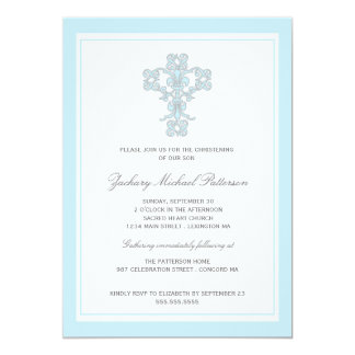 Elegant Cross Blue Baby Boy Christening Invitation