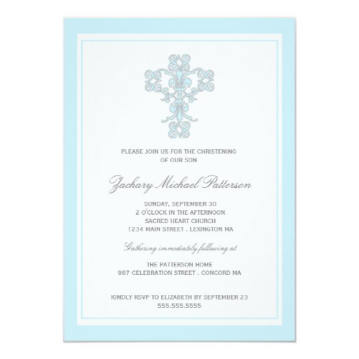 Elegant Cross Blue Baby Boy Christening Invitation