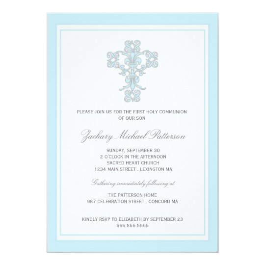 elegant cross blue boy first communion invitation zazzle com