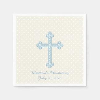 Elegant Cross Blue Christening Napkin