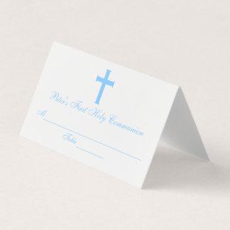 Elegant Cross First Communion Custom Place Card