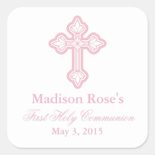 elegant cross first communion party favor labels