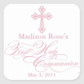 Elegant Cross First Communion Party Favor Labels Square Sticker