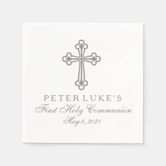 Elegant Cross First Communion Personalized Napkin