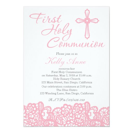 Elegant Cross First Holy Communion Invitation | Zazzle