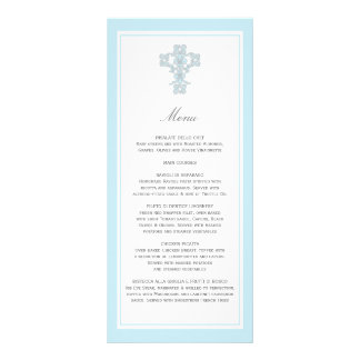 Elegant Cross in Blue Menu Page Rack Card