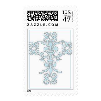 Elegant Cross in Blue Postage Stamp