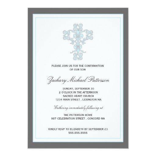 Elegant Cross in Blue Son Confirmation Invitation