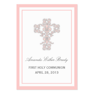 Elegant Cross in Pink Favor Tag Card Business Card Templates