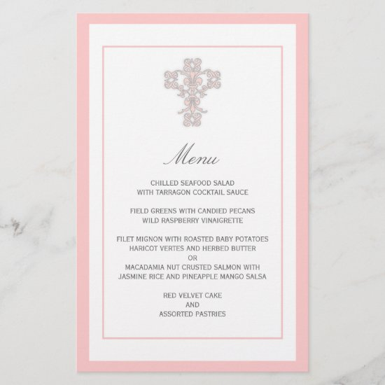 Elegant Cross in Pink Menu Page