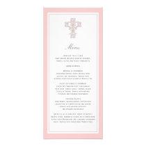 Elegant Cross in Pink Menu Page Rack Card