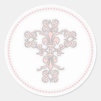 Elegant Cross in Pink Round Stickers