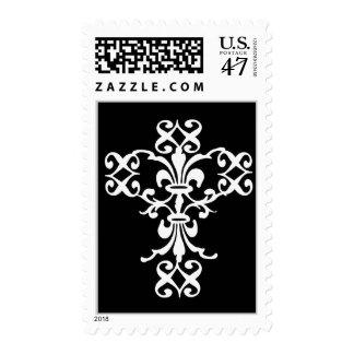 Elegant Cross in White and Black Postage