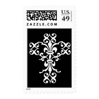 Elegant Cross in White and Black Postage Stamp