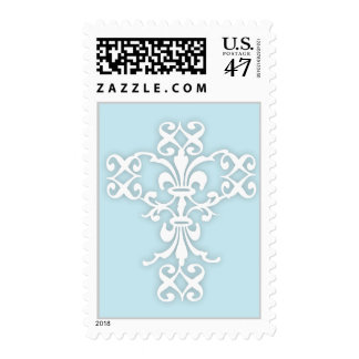 Elegant Cross in White and Blue Postage Stamp