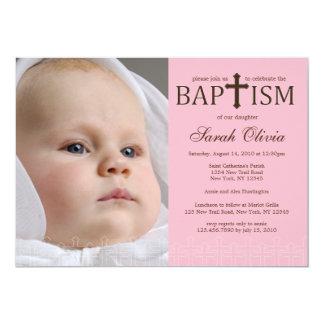 Elegant Cross Photo Baptism Invitation
