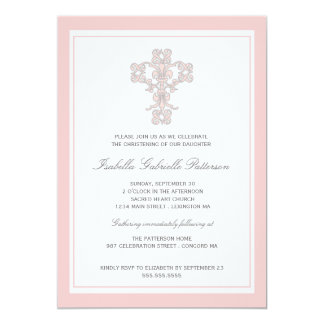 Elegant Cross Pink Girl Christening Invitation