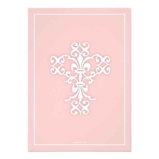 Elegant Cross Pink Girl First Communion Invitation (back side)