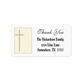 Elegant Cross Thank You Label