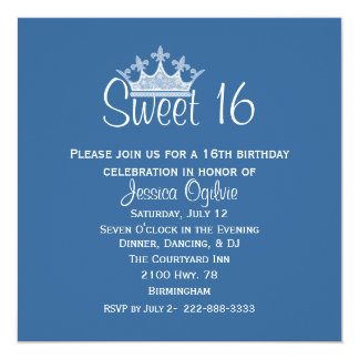 Elegant Crown Blue & White Sweet 16 Birthday Card