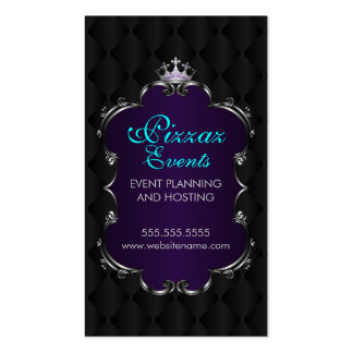 Elegant Crown Filigree and Tuft Fabric Business Card