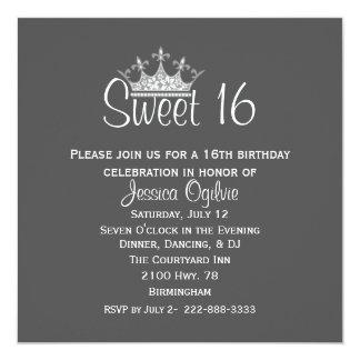 Elegant Crown Gray & White Sweet 16 Birthday Card