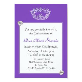 Elegant Crown Quinceañera Invitation