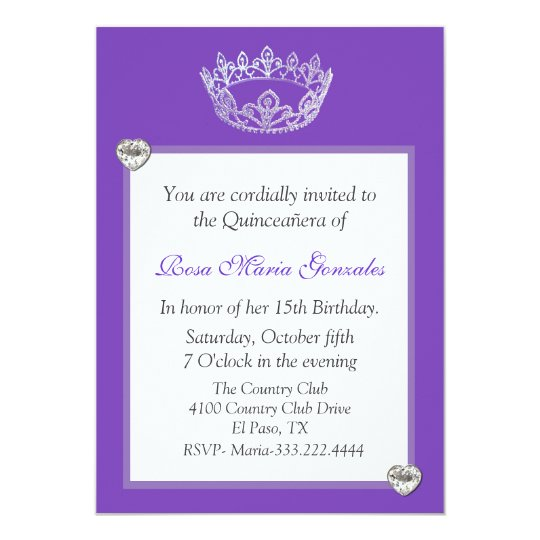 Elegant Crown Quinceanera Invitation