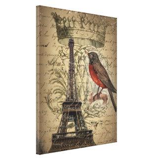 elegant crown robin eiffel tower paris Vintage Canvas Print