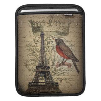 elegant crown robin eiffel tower paris Vintage iPad Sleeve