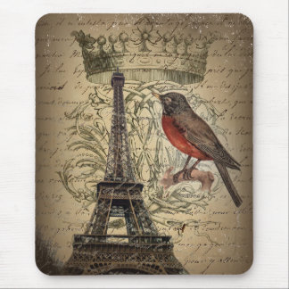 elegant crown robin eiffel tower paris Vintage Mouse Pad