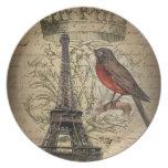 elegant crown robin eiffel tower paris Vintage Dinner Plates