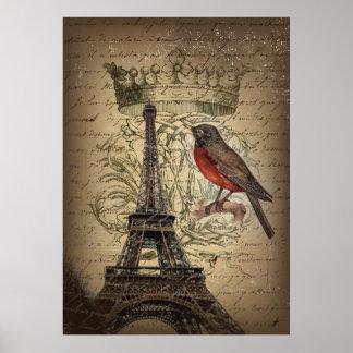 elegant crown robin eiffel tower paris Vintage Poster