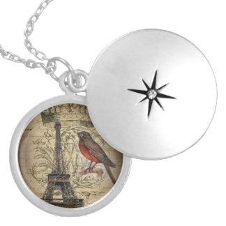 elegant crown robin eiffel tower paris Vintage Round Locket Necklace