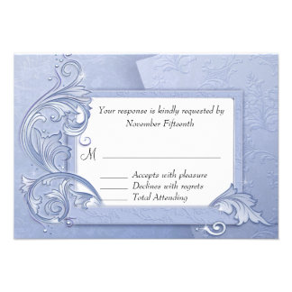 Elegant Crystal Blue Winter Wedding RSVP Card Custom Invitation