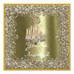 ELEGANT CRYSTAL Gold Sparkle Holiday Invitation