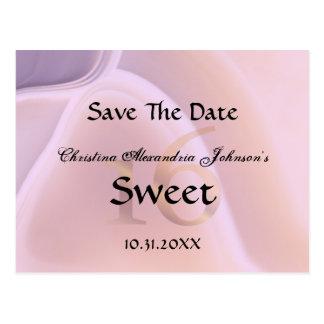 Elegant Crystal Pink Sweet 16 Save The Date Postcard
