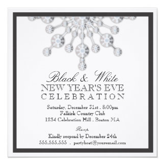Elegant Crystal Snow New Year's Eve Black & White Card
