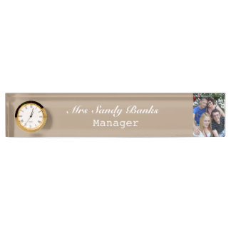 Elegant Cuctomizable name plate with clock