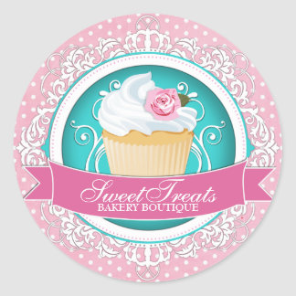Elegant Cupcake Bakery Box Stickers
