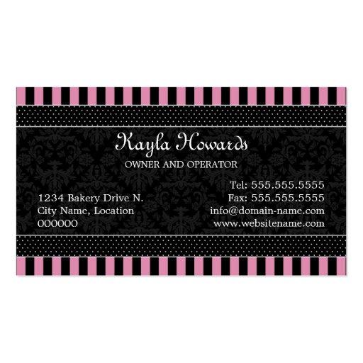 Elegant Cupcake Bakery Business Cards (back side)