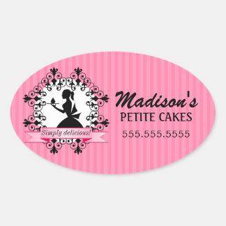 Elegant Cupcake Bakery Lady Silhouette Pink Oval Sticker