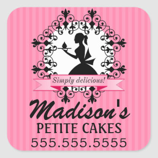Elegant Cupcake Bakery Lady Silhouette Pink Square Stickers