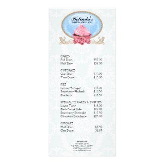 Elegant Cupcake Bakery Rack Card rackcard
