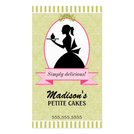 Olive Green Background and Classy Woman Holding Petite Cup Cake Silhouette Baker's Business Cards