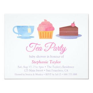 Elegant Cupcake Tea Party Baby Shower Invitations